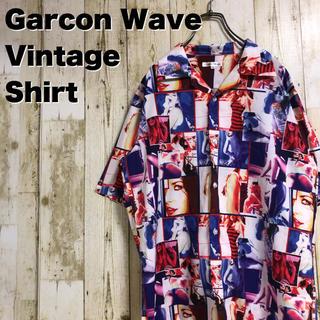ギャルソンウェーブ(Garcon Wave)のGarcon Wave ガールズフォトプリント 総柄 オープンカラー 半袖シャツ(シャツ)