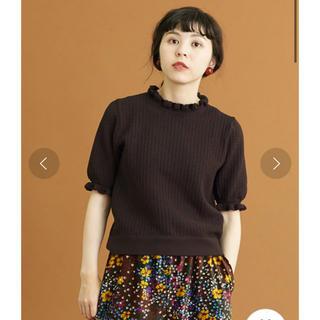 ドットアンドストライプスチャイルドウーマン(Dot&Stripes CHILDWOMAN)のDot&stripes AMOSSAすかし 衿フリル5分袖プルオーバー(カットソー(半袖/袖なし))