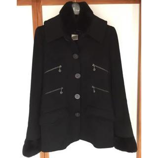 シャネル(CHANEL)の美品◆シャネル コート カシミヤ ラパン毛皮 黒 38 CHANEL(ロングコート)