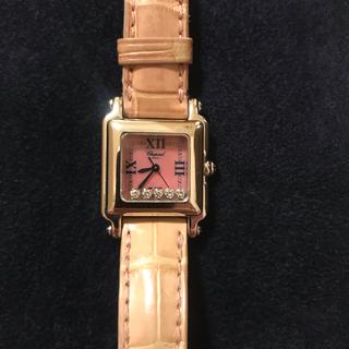 ショパール(Chopard)のショパール ハッピースポーツ スクエアミニ ピンクシェル (腕時計)