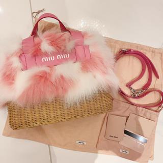 ミュウミュウ(miumiu)のMIUMIU ❤︎ ファー カゴバッグ ❤︎ 限定品(かごバッグ/ストローバッグ)