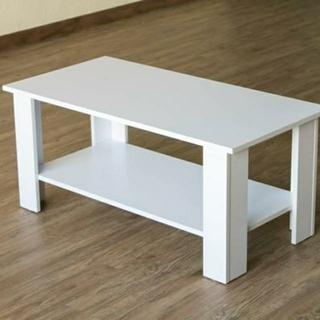 送料無料 【アウトレット】棚付センターテーブル ホワイト (ローテーブル)