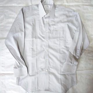 courreges☆☆☆グレー×白のストラップ柄Yシャツ