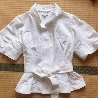 アルマーニ コレツィオーニ(ARMANI COLLEZIONI)の国内正規品 アルマーニ シャツ ジャケット イタリー製 半袖 38 ホワイト (シャツ/ブラウス(半袖/袖なし))