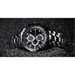 新品!高級感漂うメンズ腕時計(黒バンド+黒)(電池も新品)#Jun12a(腕時計(デジタル))