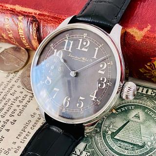 インターナショナルウォッチカンパニー(IWC)の★OH済★IWC★スケルトン 手巻き 腕時計 アンティーク 黒文字盤(腕時計(アナログ))