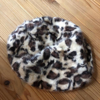 WEGO - ヒョウ柄 ハンチング ベレー帽 ファー