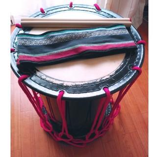 【和楽器】桶太鼓 1.5尺 バチ&ストラップ付き(和太鼓)