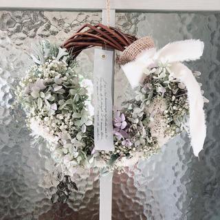 紫陽花とかすみ草のハーフリース。:.゚ஐ⋆*(ドライフラワー)