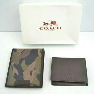 コーチ(COACH)の【未使用品】COACH カモフラ シグネチャー 2つ折り財布・パスケース付き (折り財布)
