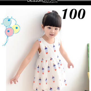 韓国子供服 ノースリーブワンピース アイスバー(ワンピース)