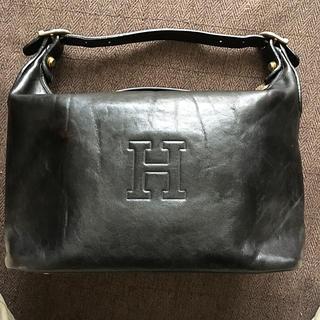 イタリア名門鞄マニファクチャラーのヒロフ革製黒色バッグ(ハンドバッグ)