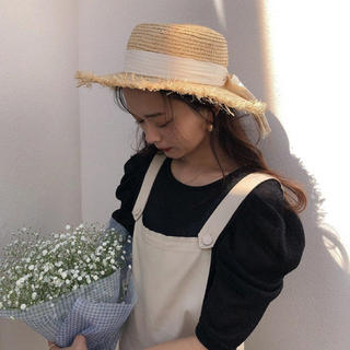 miro  ホワイトリボン麦わら帽子♡(麦わら帽子/ストローハット)