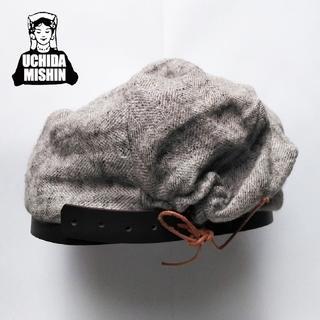 ツムグ(tumugu)の新品 内田ミシン✨ベレー帽 ヘリンボーン 麻 リネン レザーベルト革紐調節(ハンチング/ベレー帽)