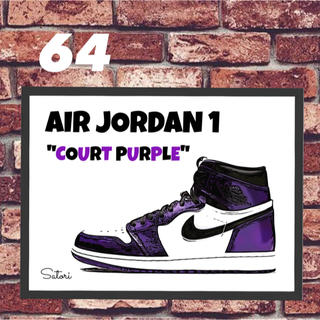 AIR JORDAN 1 コートパープル コミックシューズ ポスター 1枚(スニーカー)