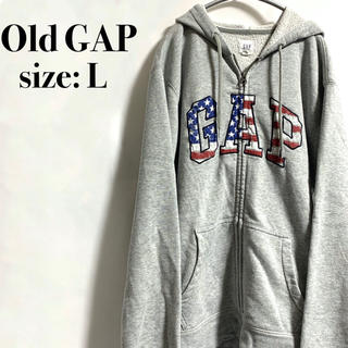 GAP - オールド ギャップ GAP ジップパーカー 星条旗 アメリカ グレー