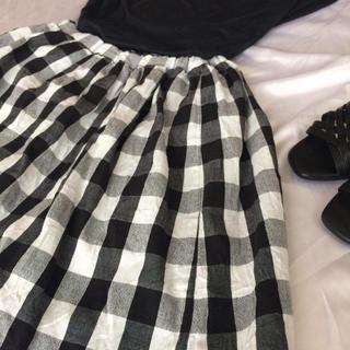ベルメゾン(ベルメゾン)のチェックがかわいいナチュラル系スカート サイズM(ひざ丈スカート)