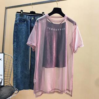 バッファロー(Buffalo)のオーロラ メッシュ Tシャツ キャミ付 ピンク(Tシャツ(半袖/袖なし))