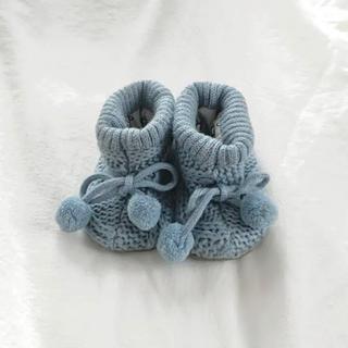 ザラキッズ(ZARA KIDS)のzara baby ブルー ニットブーツ ファーストシューズ ベビーシューズ(ブーツ)