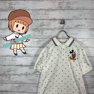 ディズニー(Disney)の【人気】ディズニー ポロシャツ 刺繍ロゴ スリーブロゴ オーバーサイズ(ポロシャツ)
