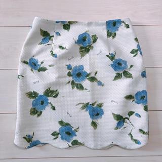 ノエラ(Noela)のノエラ noela 花柄 スカート ブルー 白 ホワイト (ミニスカート)