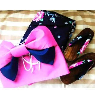 ネイビー薔薇柄♡キュート浴衣3点セット(浴衣)