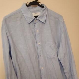 ユニクロ(UNIQLO)のユニクロ リネンシャツ Lサイズ ブルー(その他)