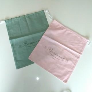ボンポワン(Bonpoint)のBONPOINT ボンポワン 巾着 グリーン ピンク(体操着入れ)