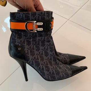クリスチャンディオール(Christian Dior)のレア Dior ディオール モノグラム ブーツ 40 デニム ガリアーノ時代(ブーツ)