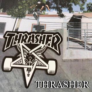 スラッシャー(THRASHER)のTHRASHERスラッシャーUS期間限定型抜きロゴSK8ステッカーラスト2(スケートボード)