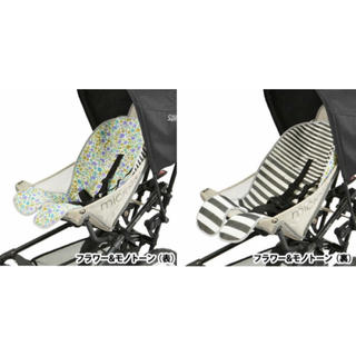 ヒステリックミニ(HYSTERIC MINI)のBABYHOPPER リバーシブル・ベビーカーシート/フラワー&モノトーン(ベビーカー用アクセサリー)