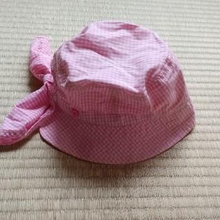 サンカンシオン(3can4on)の女の子ピンクギンガムチェック日よけ付帽子(帽子)