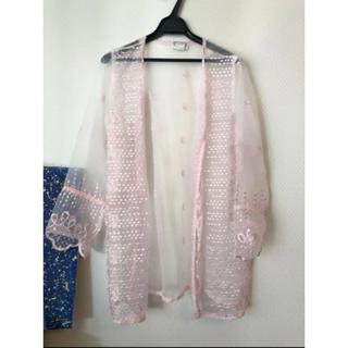 ホリデイ(holiday)のヴィンテージショップ購入 青みベビーピンクのシースルー羽織り(カーディガン)