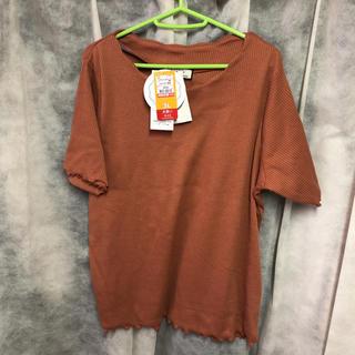 シマムラ(しまむら)のしまむら リブスカラップT 3L オレンジ(Tシャツ(半袖/袖なし))