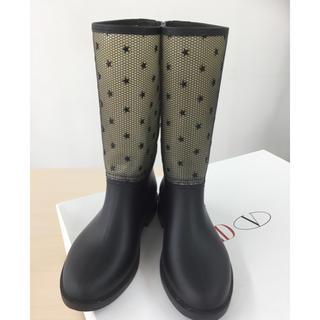 レッドヴァレンティノ(RED VALENTINO)のRED VALENTINO スター柄 レインブーツ美品 ブラック36 23センチ(レインブーツ/長靴)