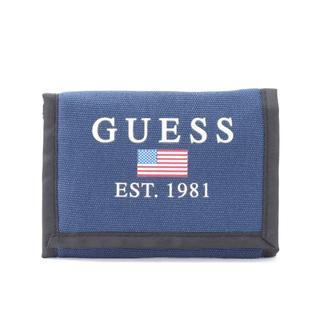 ゲス(GUESS)の新品!GUESS(ゲス)★三つ折り コットンウォレット 財布 ブルー(折り財布)