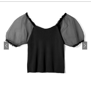グレイル(GRL)の袖チュール切替トップス[ac1788](Tシャツ(半袖/袖なし))