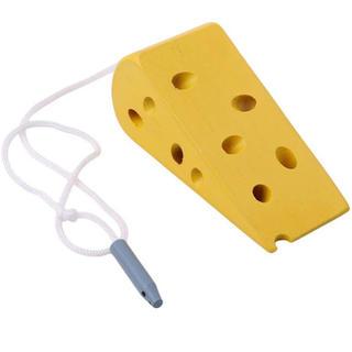 チーズ ねずみ 紐通し モンテッソーリ 知育 木製 おもちゃ おままごと 糸通し(知育玩具)