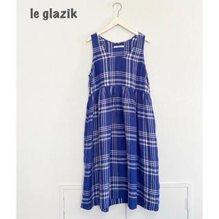 ルグラジック(LE GLAZIK)の【le glazik】リネンチェックワンピース ルグラジック(ひざ丈ワンピース)