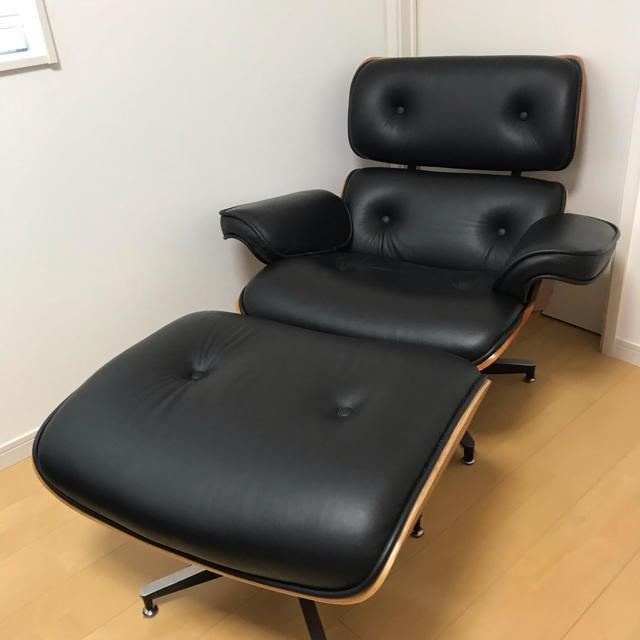EAMES(イームズ)のイームズ・ラウンジチェア オットマン 本革 BLACK インテリア/住まい/日用品のソファ/ソファベッド(一人掛けソファ)の商品写真