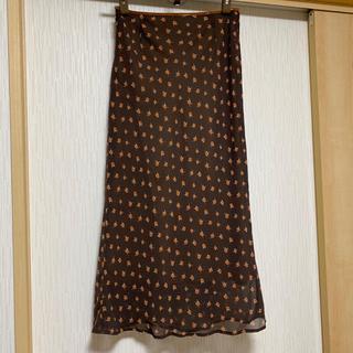 アンタイトル(UNTITLED)のUNTITLED  花柄ロングスカート ブラウン系(ロングスカート)