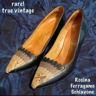 フェラガモ(Ferragamo)の【Vintage/レア!フェラガモ!送料込・即購入可】パイソンパンプス6.5(ハイヒール/パンプス)