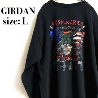 ギルタン(GILDAN)のGIRDAN Heavy Cotton ナイフ ライフル スカル 星条旗 骸骨(Tシャツ/カットソー(七分/長袖))