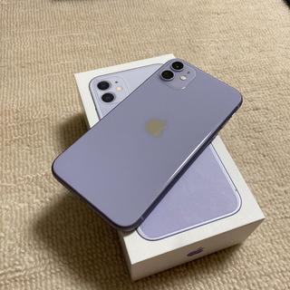アイフォーン(iPhone)の[極美品]iPhone11 128g 紫 パープル SIMフリー(スマートフォン本体)
