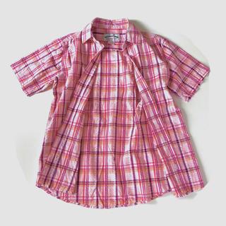メンズ シャツ 半袖 チェック ピンク トップス 男性用 M(シャツ)