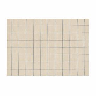 ウニコ(unico)の【未使用】UNICOインド綿ラグ★ブルーチェック★140x200cm(ラグ)