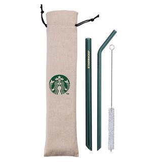 Starbucks Coffee - スターバックス:緑 ストロー ポーチ付き ロゴ 台湾 スタバ ガラス
