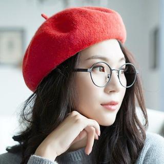 ベレー帽 帽子 レッド 無地 可愛い 調整可能 秋 冬 被り心地 おしゃれ(ハンチング/ベレー帽)