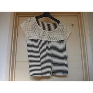 ナチュラルビューティーベーシック(NATURAL BEAUTY BASIC)のTシャツ ナチュラルビューティーベーシック M 紺×白ストライプ レース(Tシャツ(半袖/袖なし))