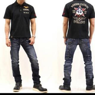 バンソン(VANSON)のVANSON×DC  バンソン コラボ 半袖ポロシャツ 黒 Lサイズ 新品(ポロシャツ)